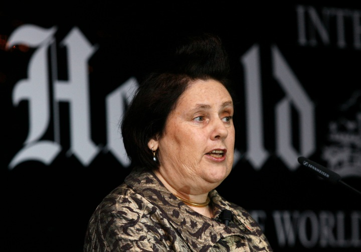 Fashion Editor of the International Herald Tribune, Suzy Menkes, speaks at the Supreme Luxury conference in Moscow
