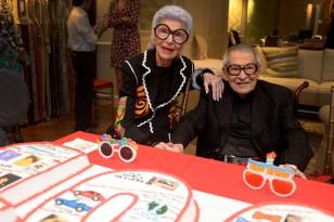 Iris Apfel, Carl Apfel== Iris Apfel and Stark Celebrate Carl Apfel's 100th Birthday== Stark Fabric, NYC== August 12, 2014== ©Patrick McMullan== Photo - Clint Spaulding/PatrickMcMullan.com== ==
